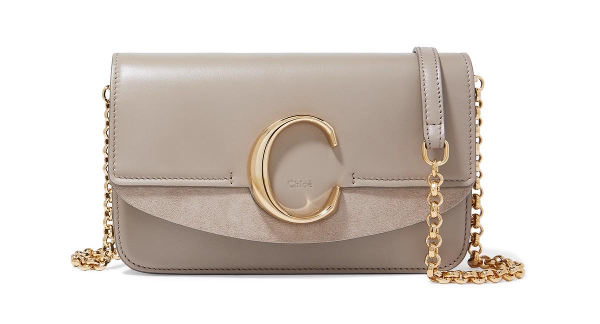 Chloe luxury purse bag design suede leather logo