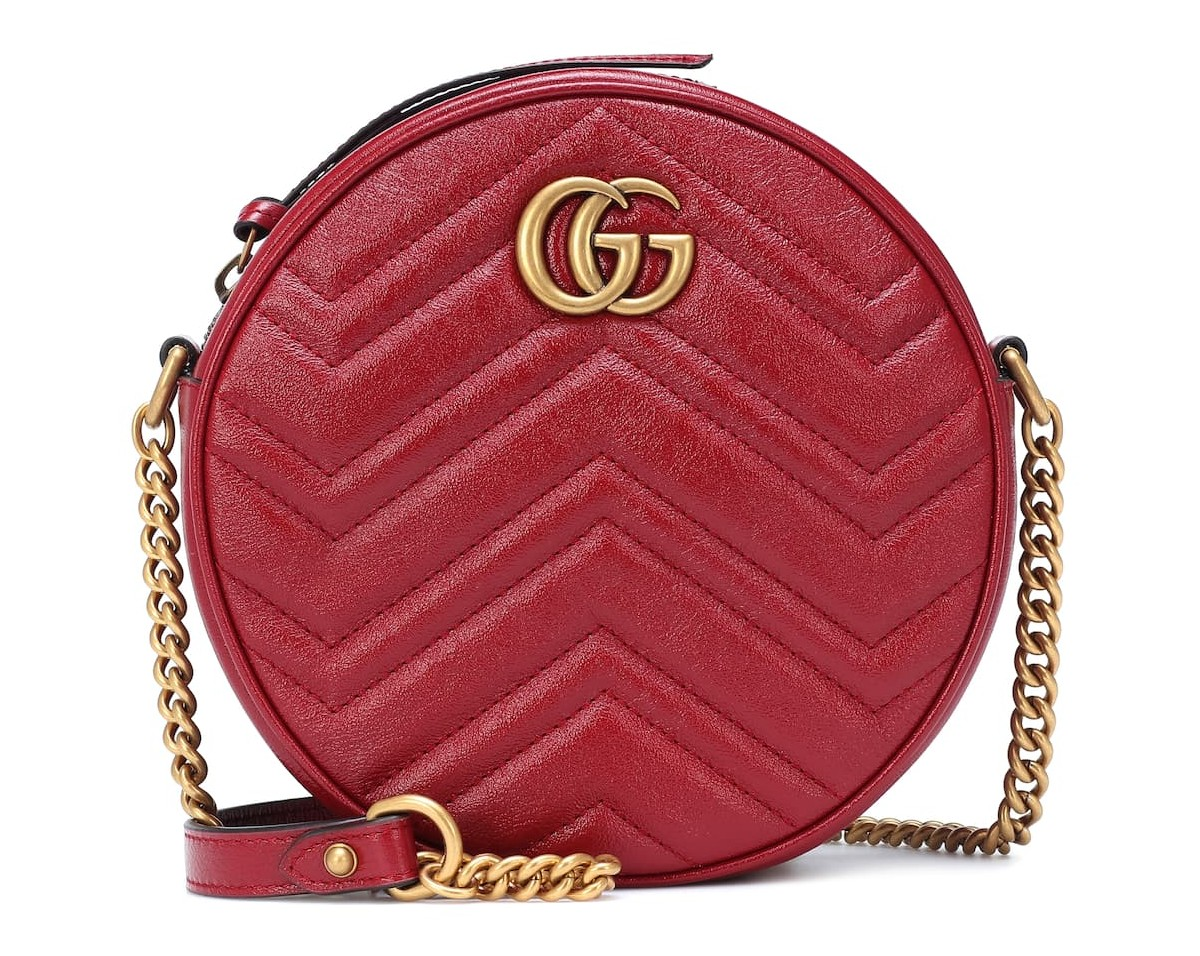 Gucci bag purse luxury leather calf red circle round design affordable